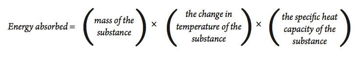 an equation for the energy absorbed by a substance, where the energy absorbed is equal to the mass of the substance times the change in temperature of the substance times the specific heat capacity of the substance.