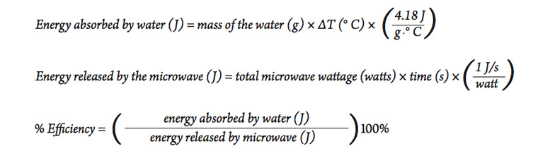a series of equations used to calculate the energy efficiency of heating water with an electric hot plate.