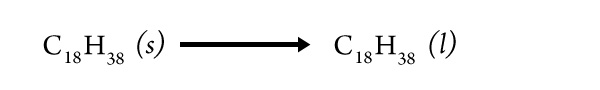 an equation for a phase change of an alkane molecule from solid to liquid