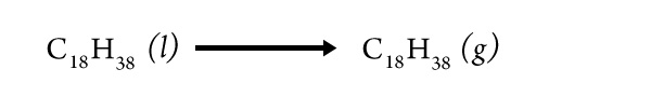 an equation for a phase change of an alkane molecule from liquid to gas
